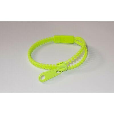 Cipzáras karkötő neon zöld/ Harajuku style