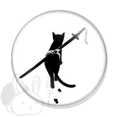 Szamuráj cica kitűző 1