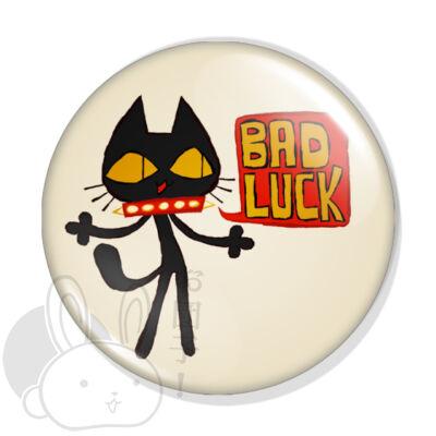 BAD LUCK fekete macska kitűző
