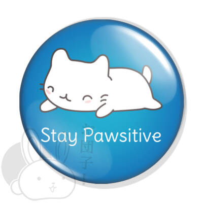 Stay pawsitive kitűző