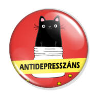 Antidepresszáns macska kitűző