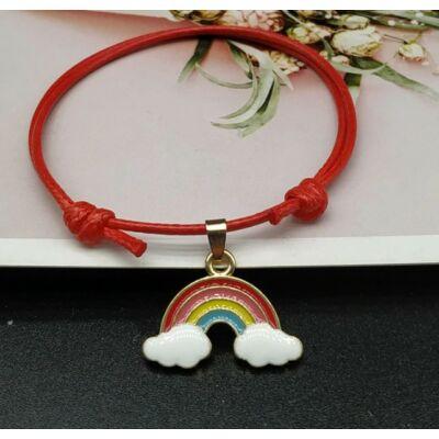 Rainbow love power karkötő piros