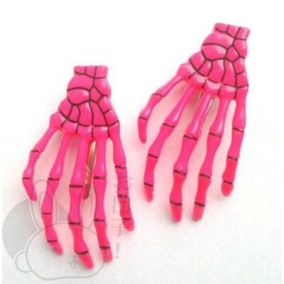Csontváz kéz hajcsat sötét rózsaszín
