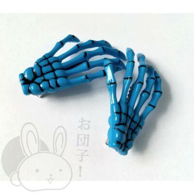 Csontváz kéz hajcsat kék