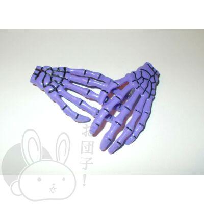Csontváz kéz hajcsat lila