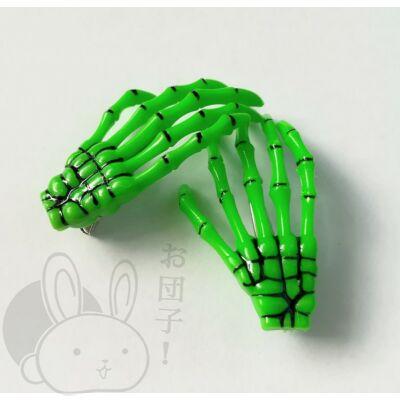 Csontváz kéz hajcsat zöld