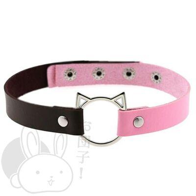 Duális fekete és rózsaszín cica nyakörv
