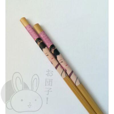 Japán mintás evőpálcika rózsaszín